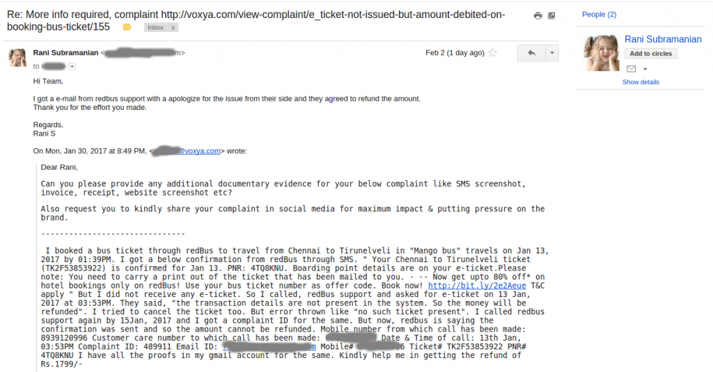 RedBus complaint resolved