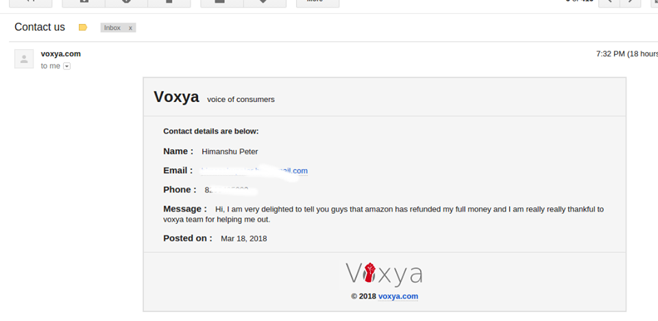 Himanshu Peter Consumer Complaint Against Amazon Resolved at Voxya