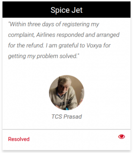 Spicejet consumer complaint resolved at Voxya consumer complaint forum