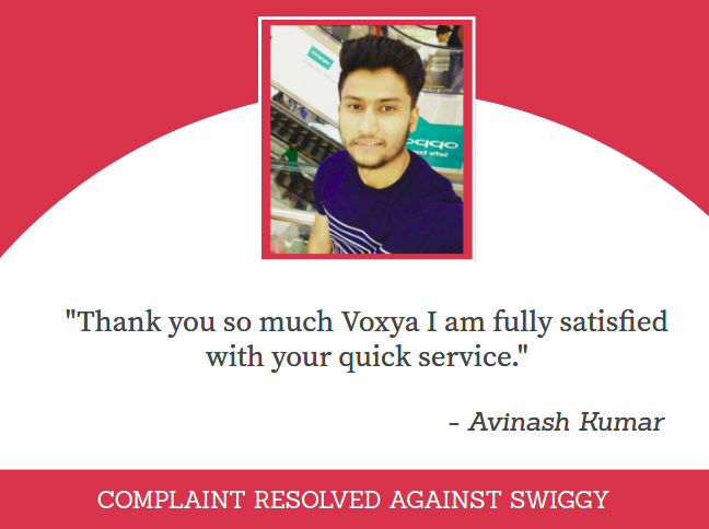 CONSUMER COMPLAINT RESOLVED AGAINST SWIGGY